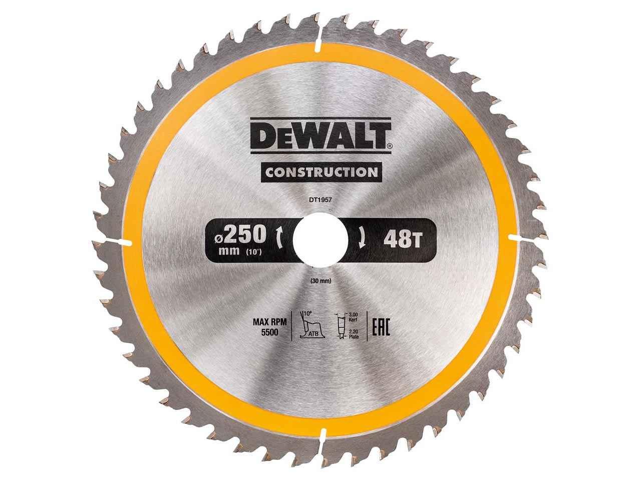 Dewalt dt1957qz construction circular saw blade 250x30mm 48t keyboard keysfo Images