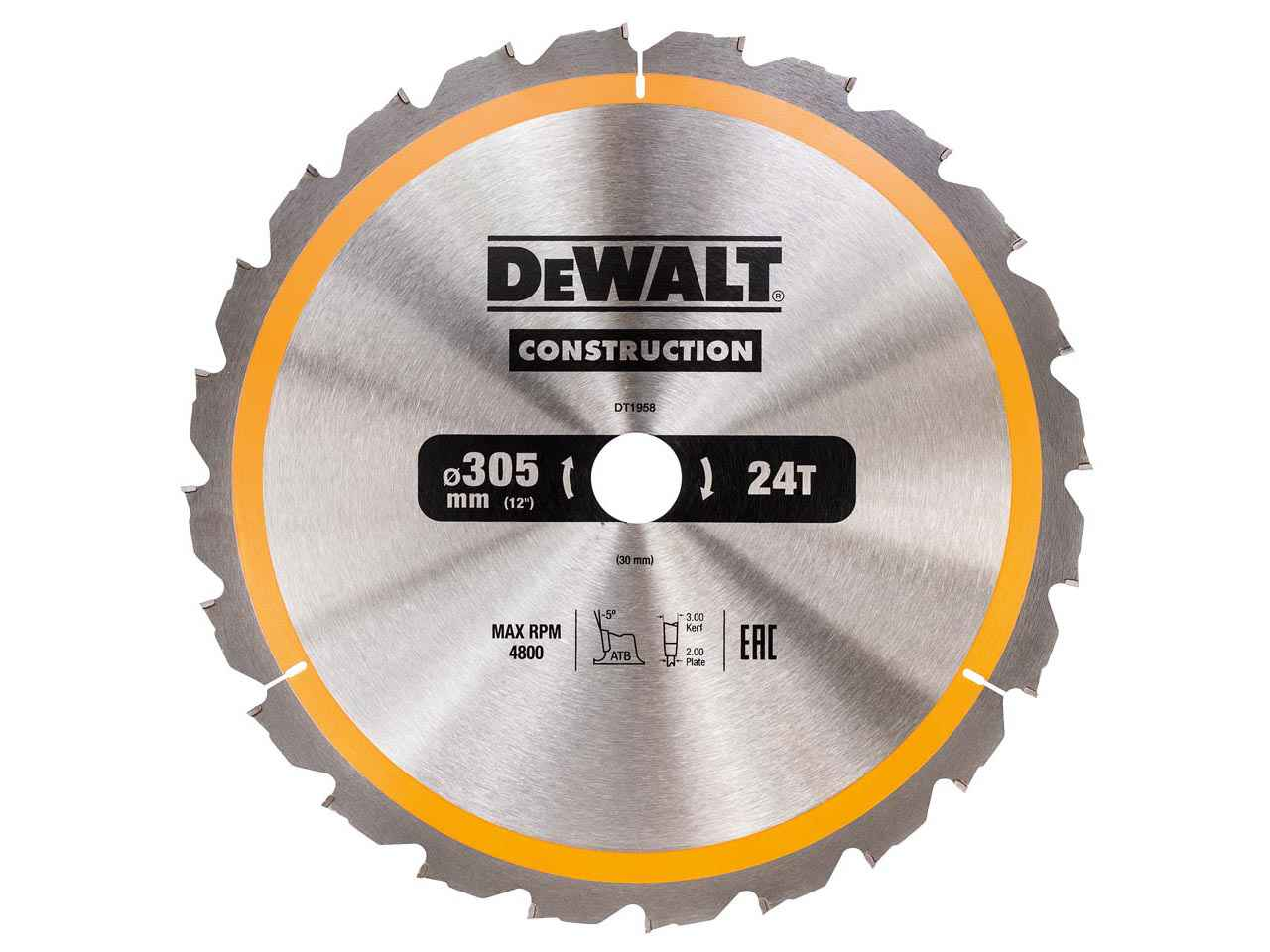 Dewalt dt1958qz construction circular saw blade 305 x 30 24t greentooth Choice Image