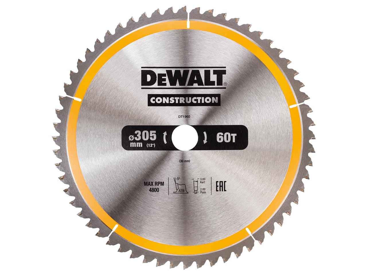 Dewalt dt1960qz construction circular saw blade 305x30mm 60t greentooth Choice Image