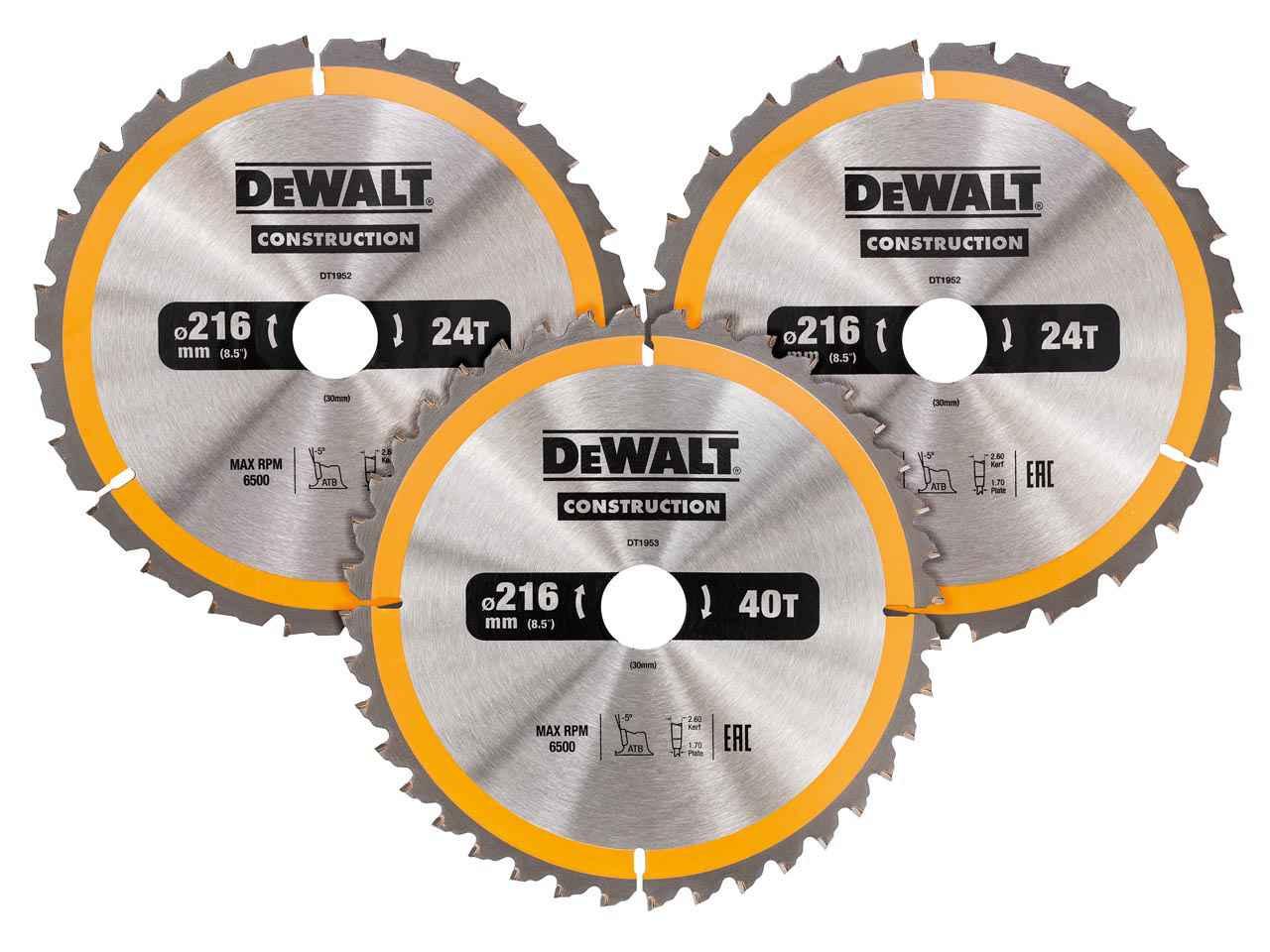 Dewalt dt1962qz circular saw blade 216mm 3pk 2x 24t 1x 40t greentooth Choice Image