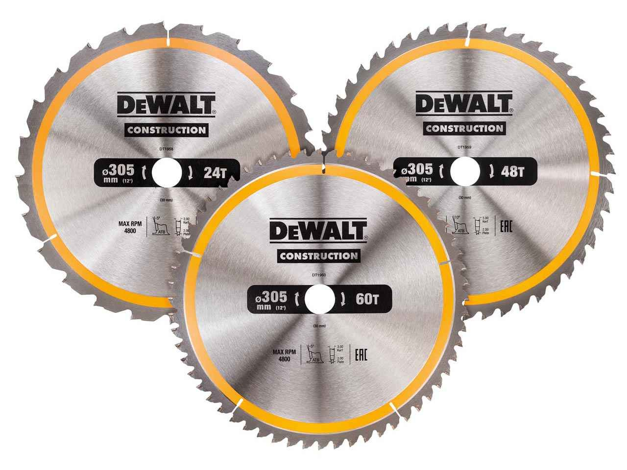 Dewalt dt1964qz 305mm circular saw blade 3pk 24t 48t 60t keyboard keysfo Images