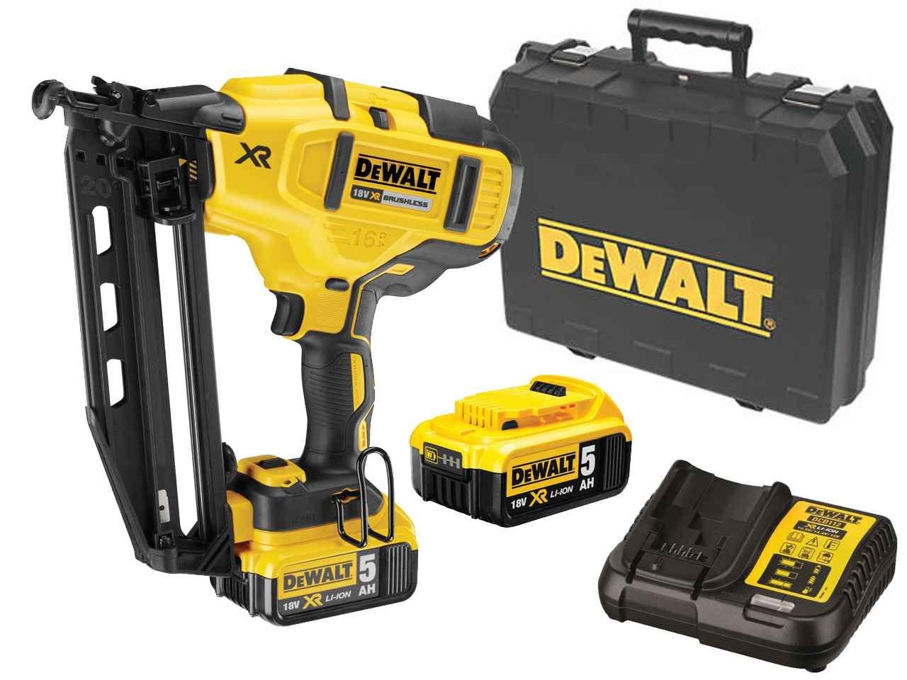 DeWalt DCN660P2 18v XR Brushless Second Fix Angled Nailer 2 x 5.0Ah ...