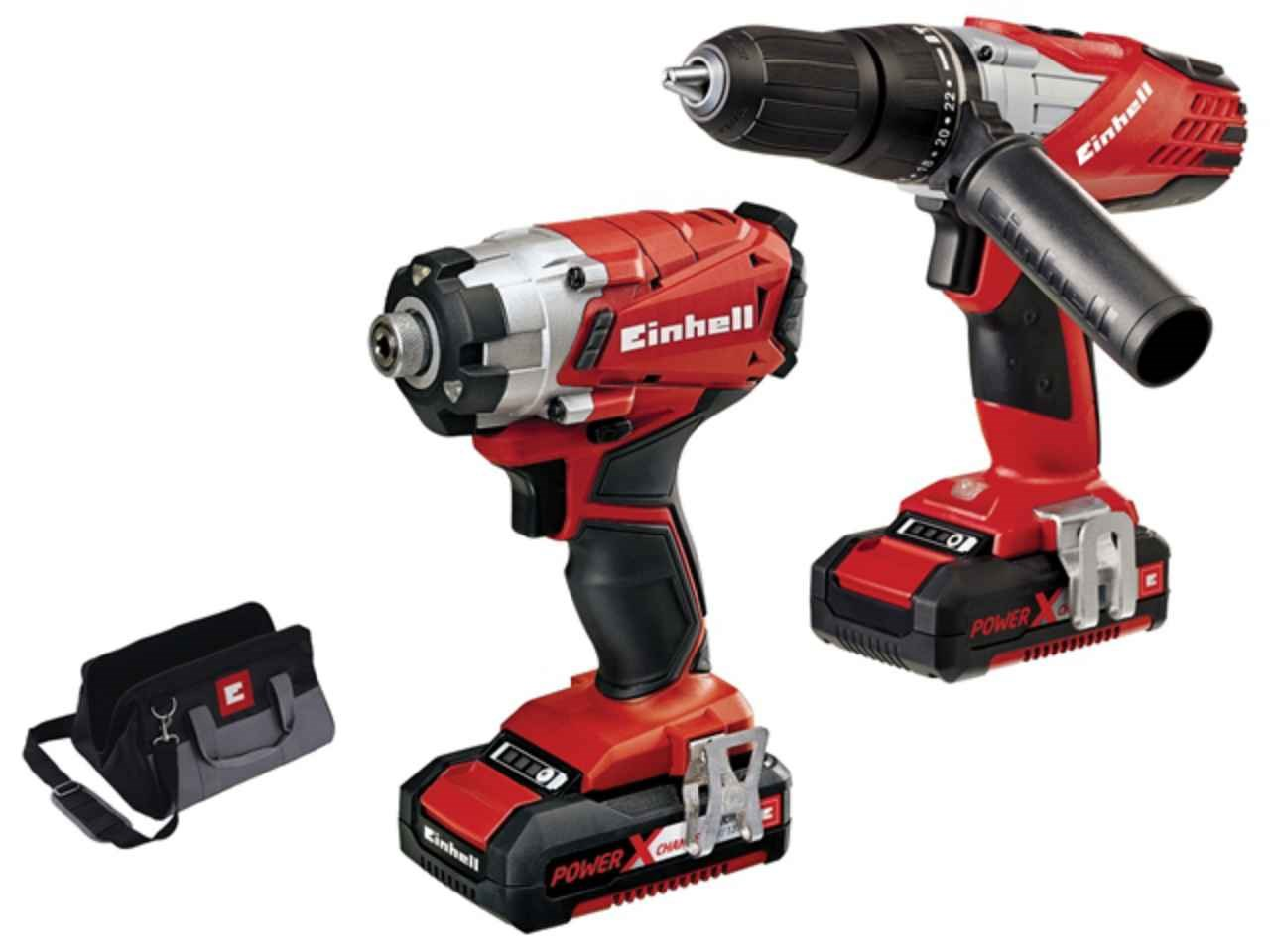 einhell eintecd18ti power x change combi impact driver twin pack 18v. Black Bedroom Furniture Sets. Home Design Ideas