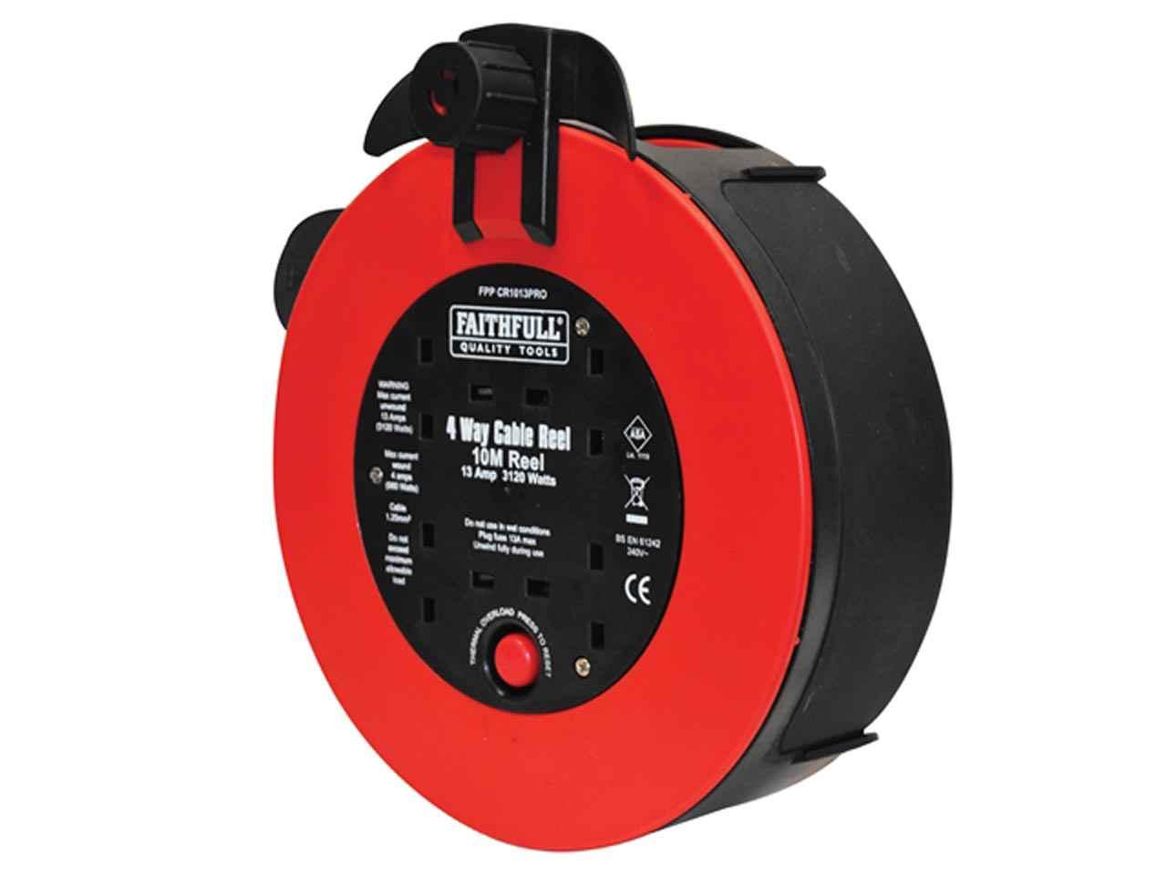 Faithfull Fast Rewind 10m Extension Cable Lead 4 Plug Socket Reel 240v 13 Amp