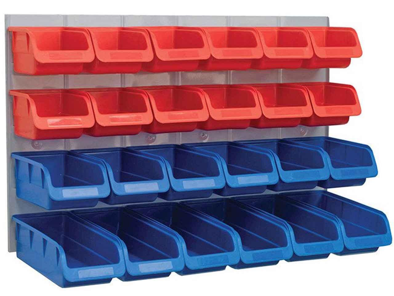 Faithfull Faipan24 24 Plastic Storage Bins With Metal Wall