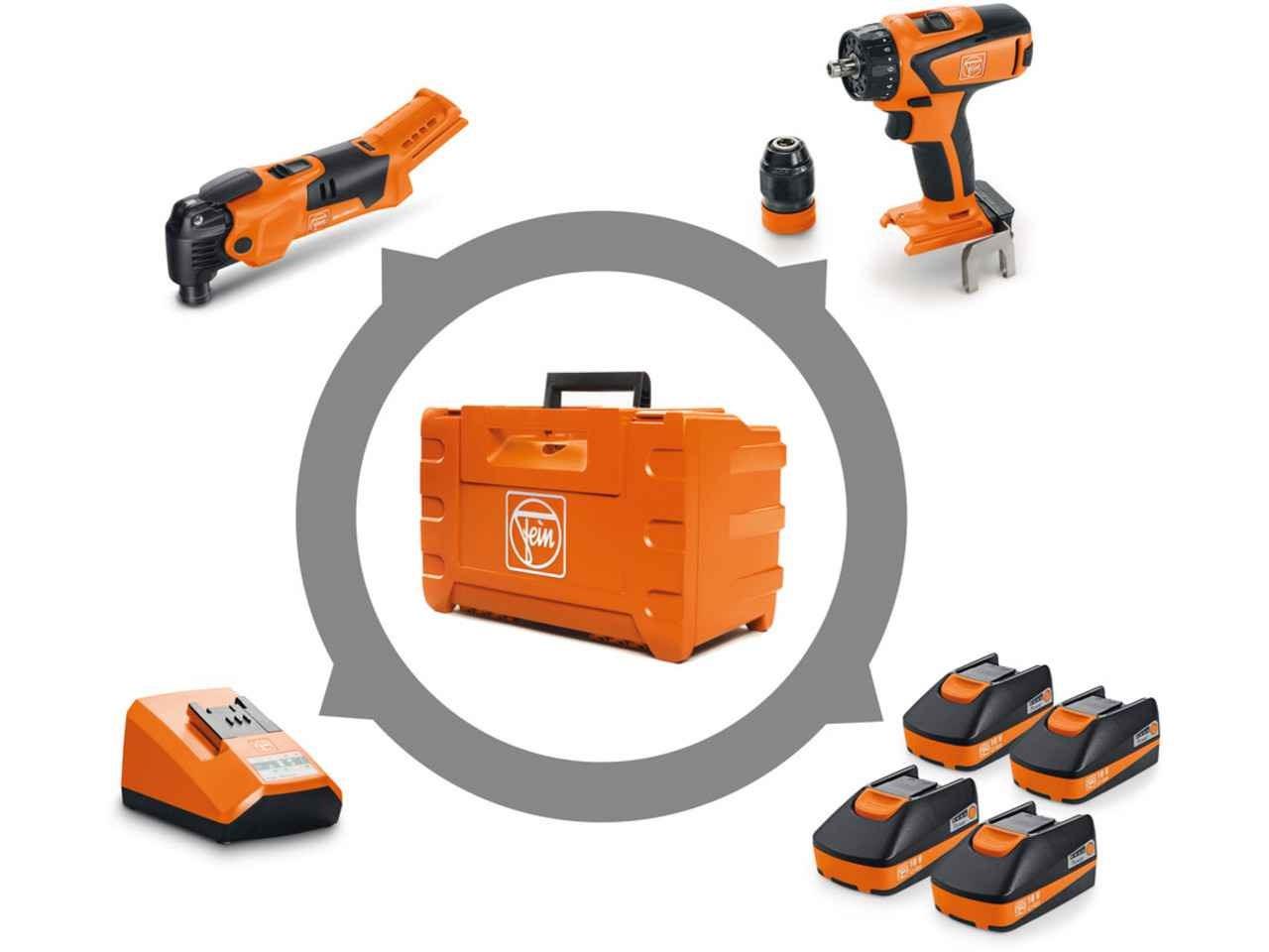 fein 71901761240 18v 4x2.5ah 2pc drill multi tool combo kit