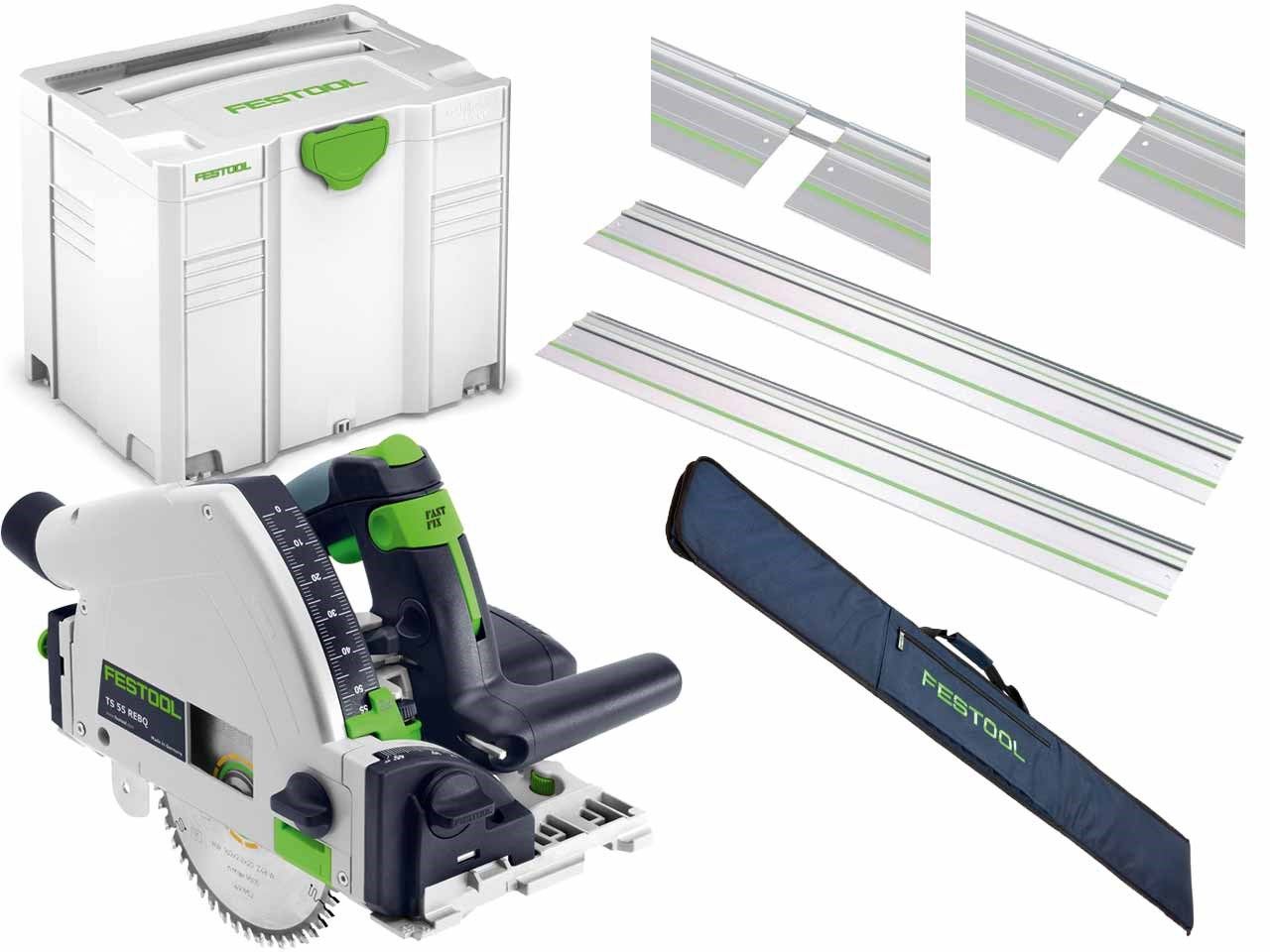 Festool Ts55r 240v Plunge Saw With 2x Fs1400 2x Fsv Plus