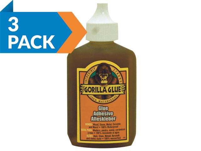 Gorilla Glue GRGGG60x3 Brown PU Glue 60ml 3pk