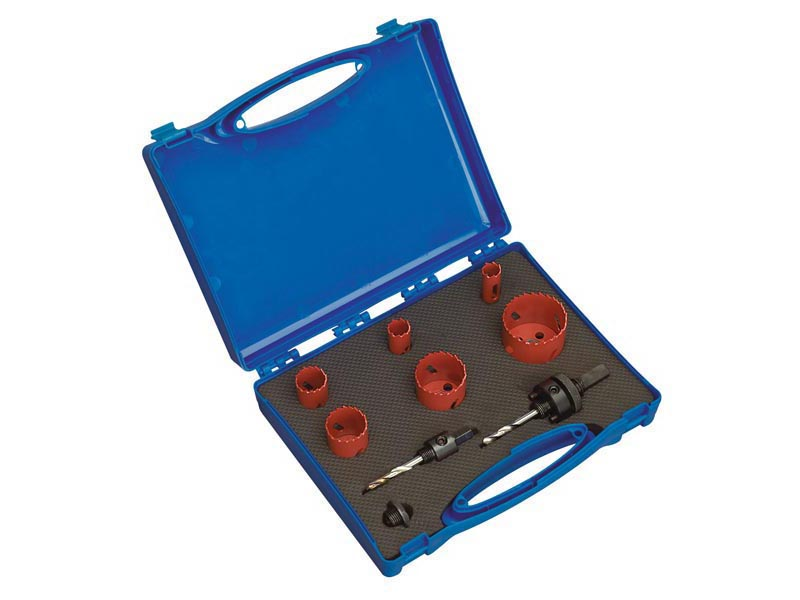 9pc Electricians Holesaw Kit 20mm to 54mm Hole Saw Set in Case