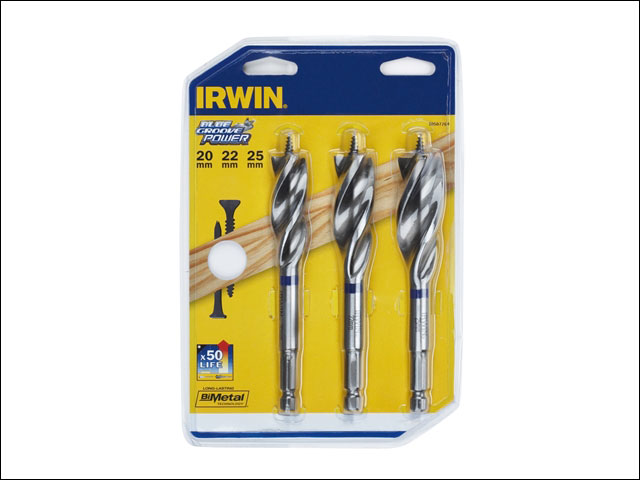 6X Blue Groove Stubby Wood Bit Set 3 Piece 16-25mm
