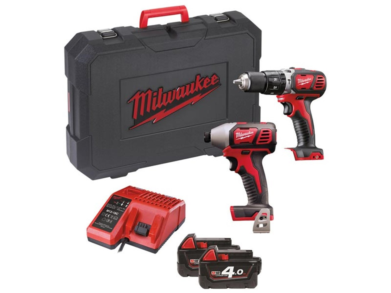 milwaukee m18bpp2c 402c 18v combi impact driver twin pack 2 x 4 0ah. Black Bedroom Furniture Sets. Home Design Ideas