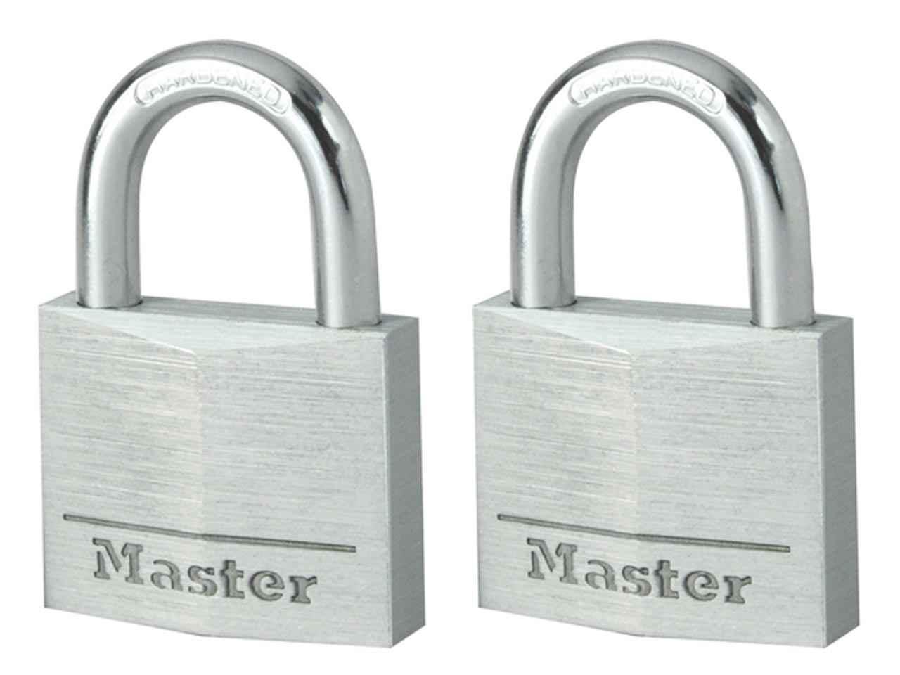 Masterlock 9140EURTBLK Aluminium Black 40mm Padlock Keyed Alike x 2