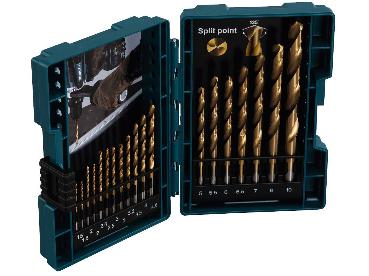 19 PIECE DRILL BIT SET TITANIUM NITRIDE COATED SIZES 1-10mm IN METAL CASE