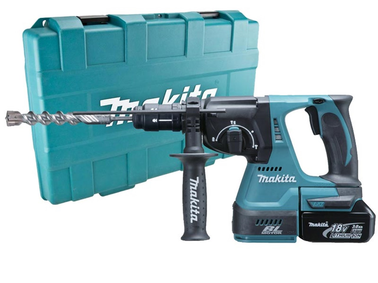makita dhr243rfe 18v lxt sds rotary hammer drill 2 x 3ah in case. Black Bedroom Furniture Sets. Home Design Ideas