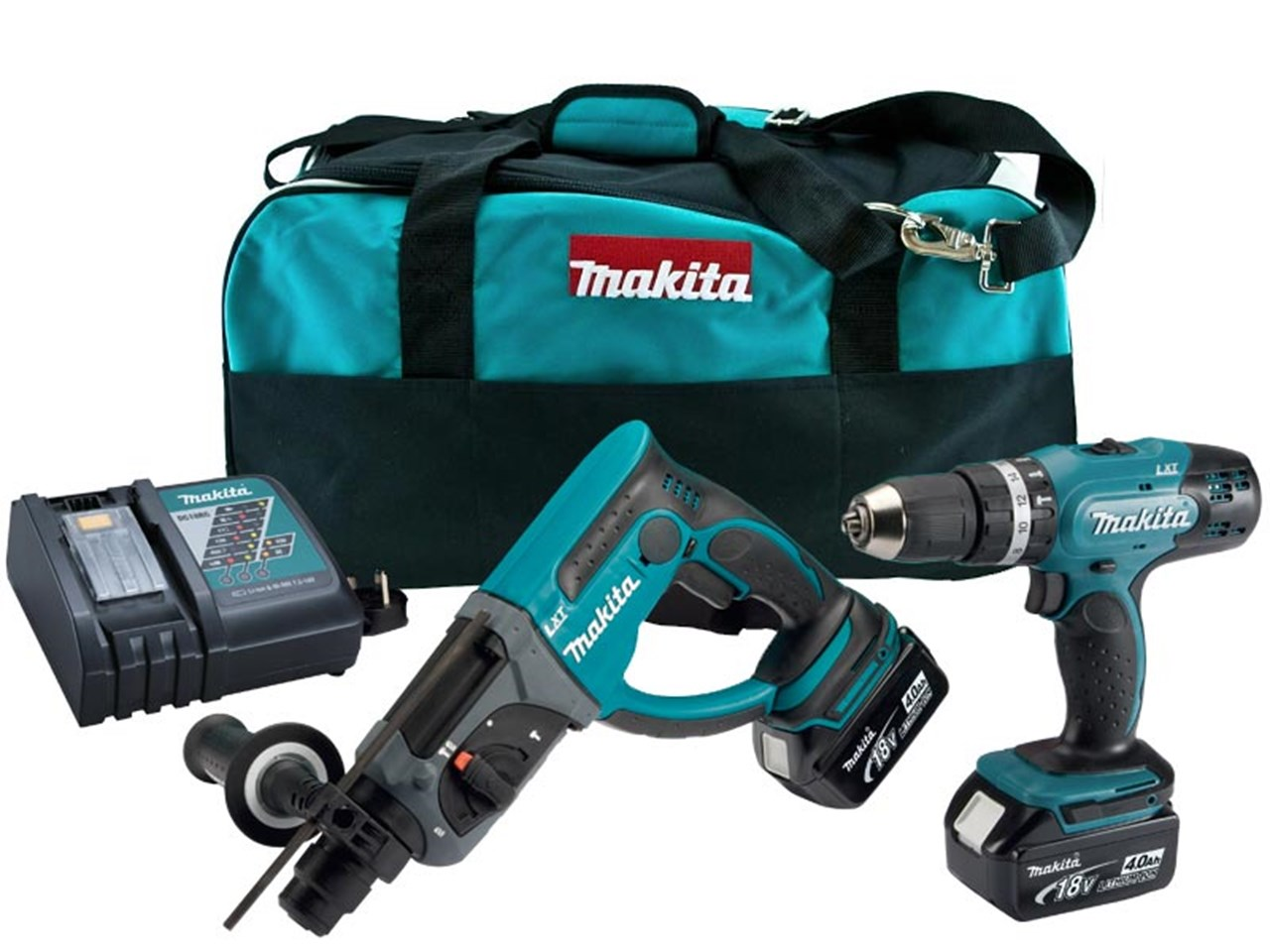 Makita DLX2025M 18v 2 x 4 0Ah LXT Combi SDS Hammer Drill Twin Kit