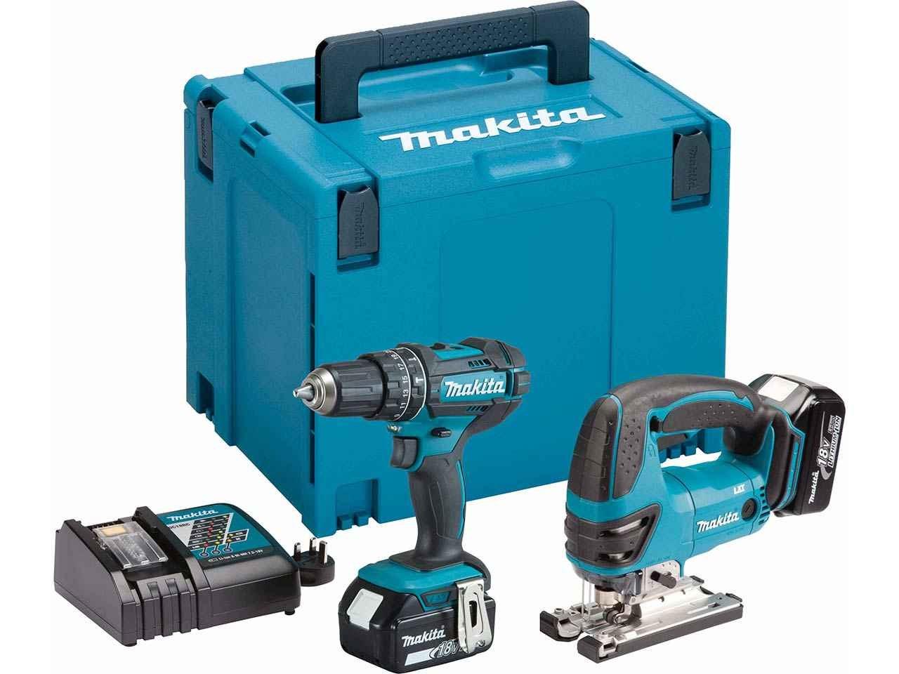 makita dlx2134mj 18v 2x4ah lxt li ion combi drill and jigsaw kit. Black Bedroom Furniture Sets. Home Design Ideas