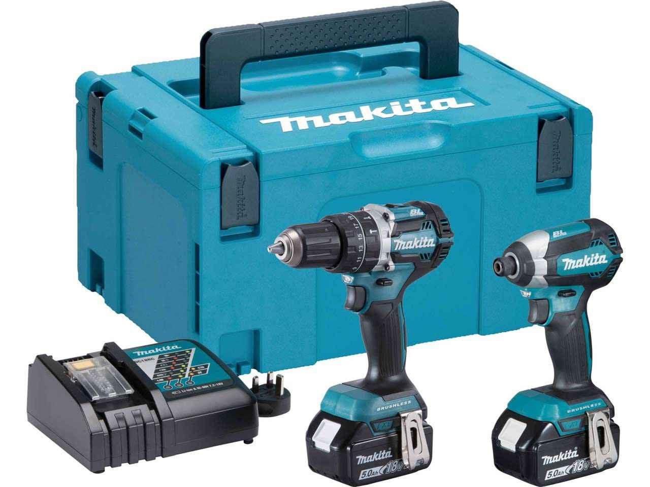 Makita DLX2180TJ 18v 2x5Ah LXT Li-ion Combi Drill Impact Driver Kit
