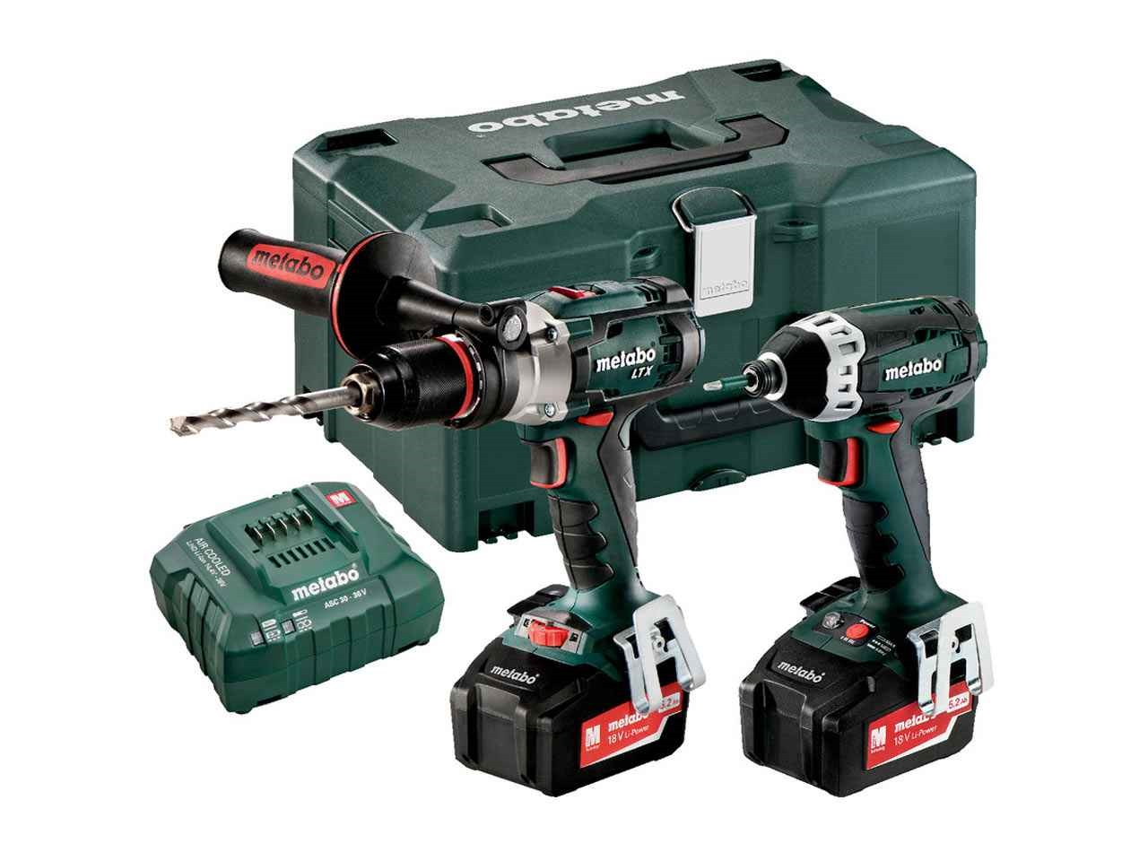 metabo comboset 2 1 5 18v 2x5 2ah ltx hammer drill and impact driver kit. Black Bedroom Furniture Sets. Home Design Ideas
