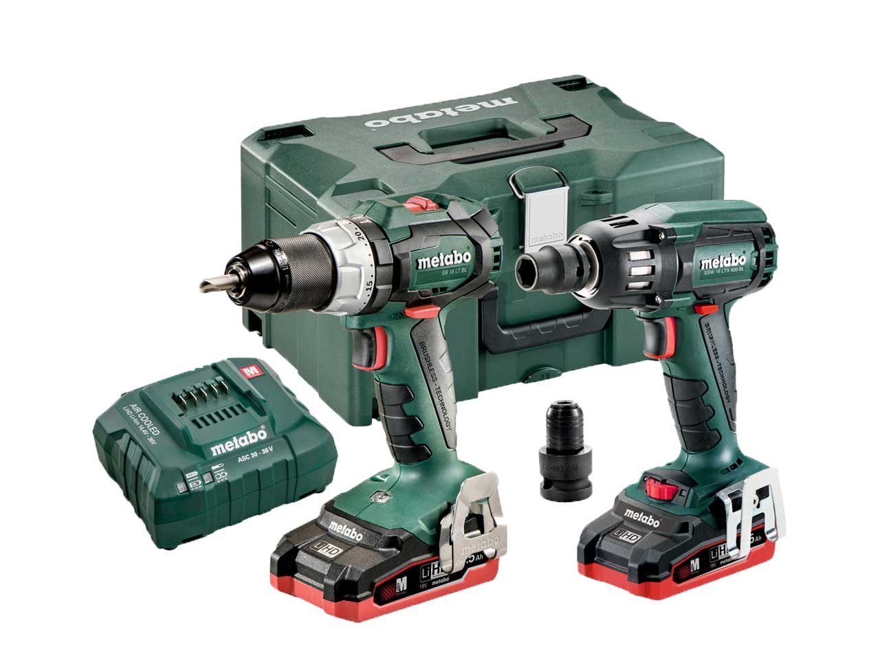 metabo combo set 2 18v bl lihd 18v lihd cordless drill and impact wrench combo. Black Bedroom Furniture Sets. Home Design Ideas