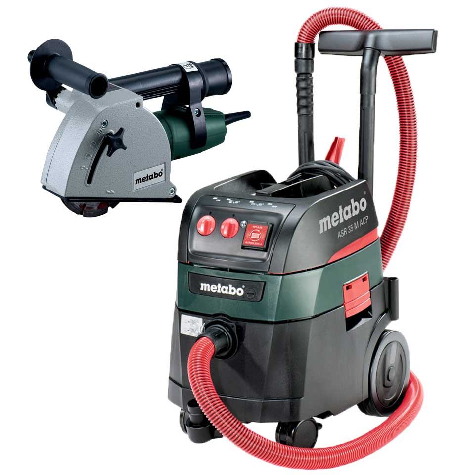 Metabo UK601119396 110v MFE30 Wall Chaser With ASR35M All Purpose Vaccum  Cleaner