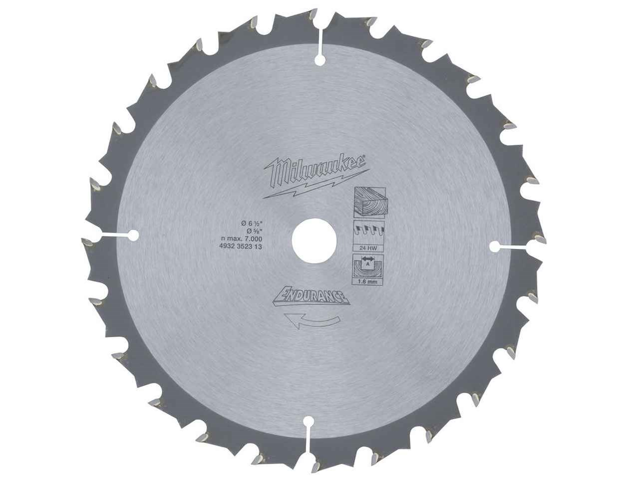 Milwaukee 4932352313 165mm 24t circular saw blade greentooth Image collections