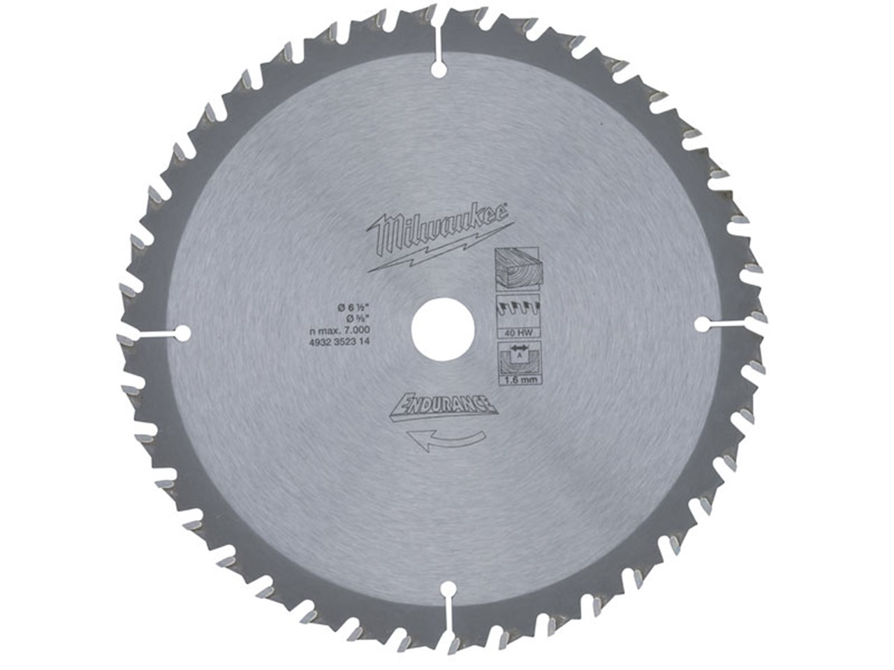 Milwaukee 4932352314 165mm 40t circular saw blade greentooth Choice Image