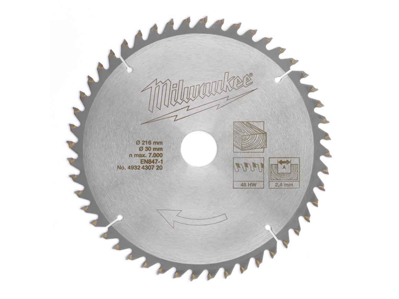 Milwaukee 4932430720 216mm 48t hw mitre saw blade greentooth Images