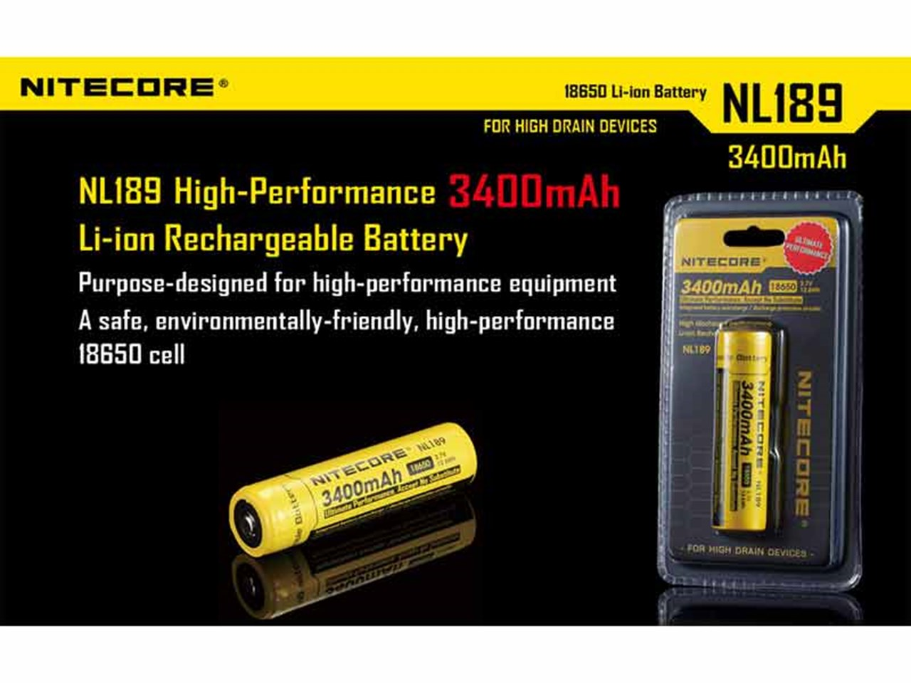 Nitecore Nl1834 36v Li Ion Rechargeable Battery 3400mah 18650 7v Liion W Protection Circuit Authorised Reseller
