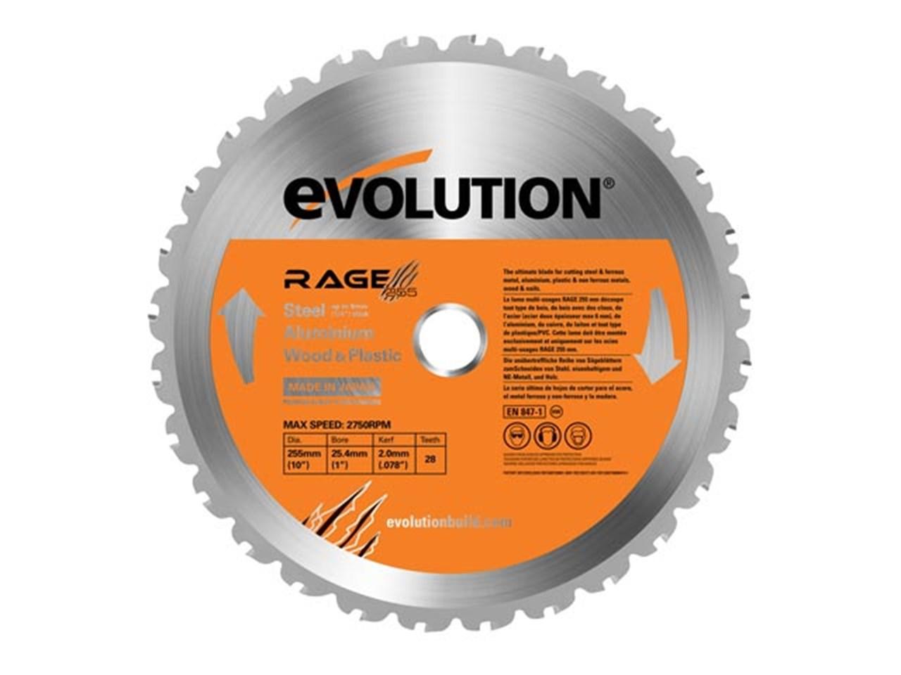 evolution evo255mp 255mm multipurpose blade for rage 3. Black Bedroom Furniture Sets. Home Design Ideas