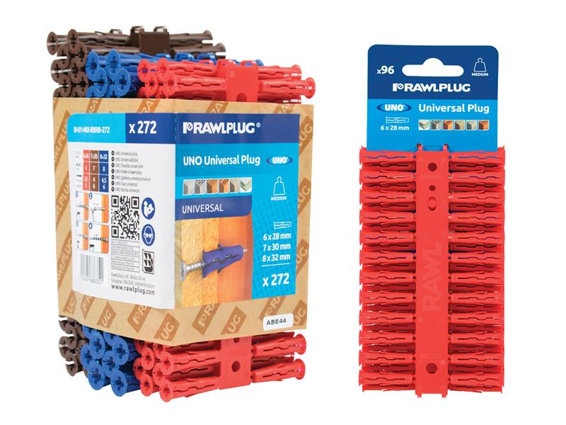 Rawlplug Red Plastic Plugs Screw Size No.6-12 50 x Pack of 20