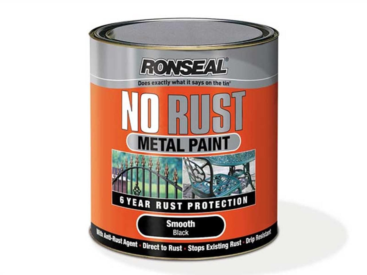 ronseal no rust metal paint satin black 750ml