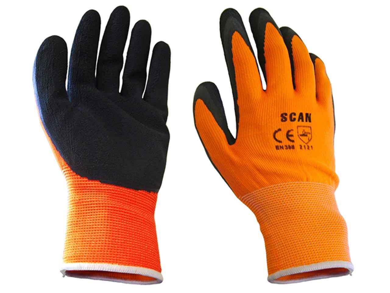 Garden Clothing & Gear Scan Hi-vis Orange Foam Latex Coated Gloves Size 8 Medium