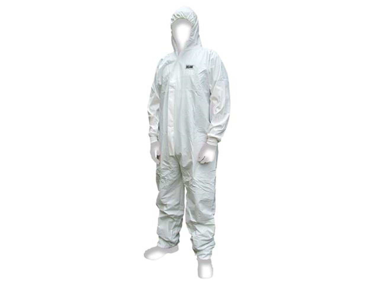 Scan CHEMSPLASH Chemical Splash Resis Disposable Coverall White Medium