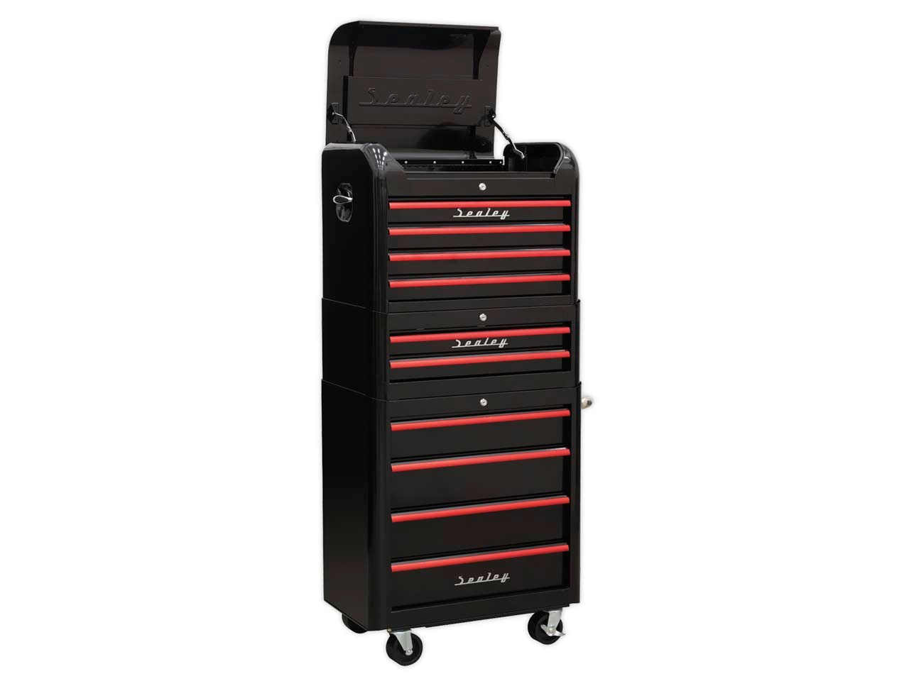 Sealey Ap28combo2br Black Red Anodised Drawer Pulls 10 Drawer Retro Style Topchest Mid Box Rollcab Combination