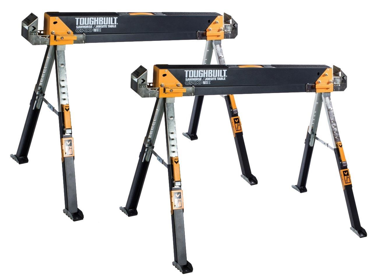 TOUGHBUILT Steel Sawhorse Jobsite Table Adjustable Height//Width 1300lb Capacity