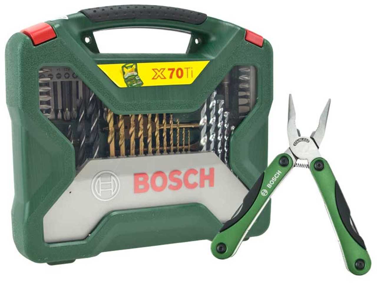bosch green 2607017198 70 piece x line drill driver and multi tool set. Black Bedroom Furniture Sets. Home Design Ideas