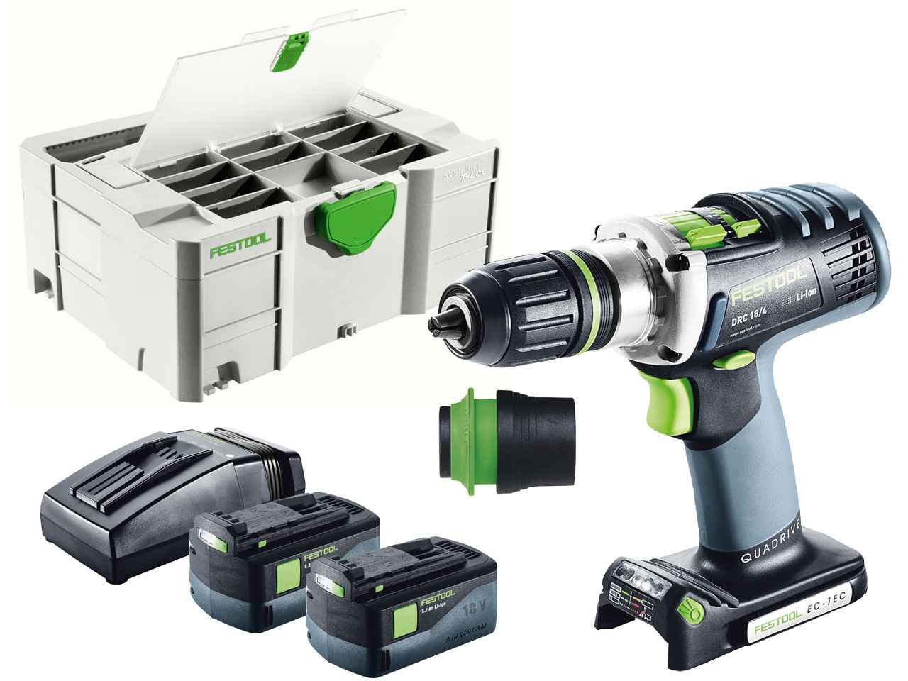 festool drc 18 4 li 5 2 plus 18v cordless drill in systainer 2 df t loc. Black Bedroom Furniture Sets. Home Design Ideas