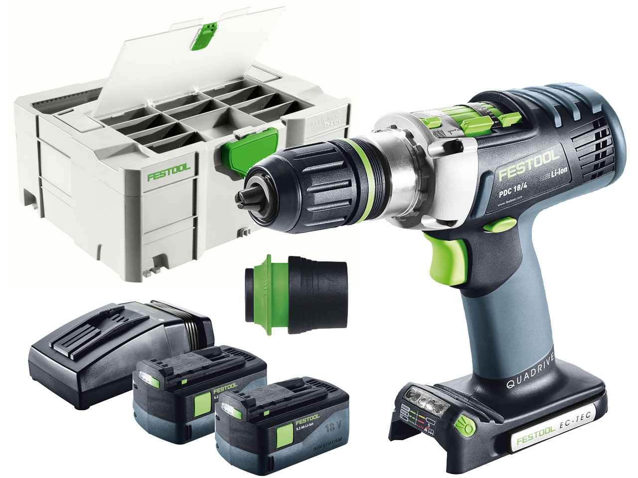 festool 574705 pdc 18 4 li 5 2 plus 18v percussion drill systainer 2 df. Black Bedroom Furniture Sets. Home Design Ideas