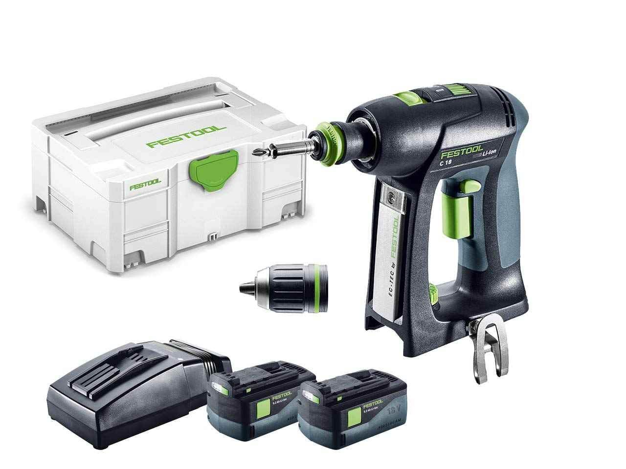 festool c 18 li 5 2 plus 18v cordless drill in systainer 2. Black Bedroom Furniture Sets. Home Design Ideas