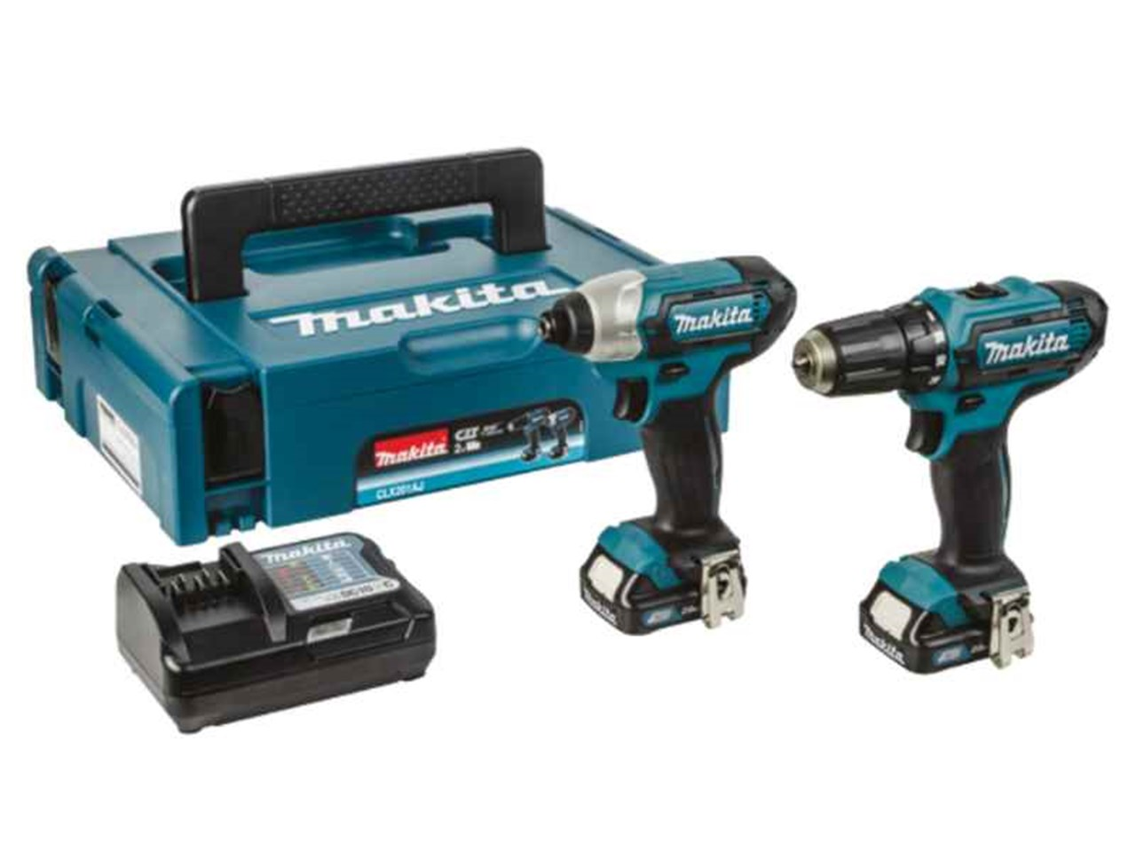 makita clx201aj 10 8v cxt 2x2 0ah li ion drill impact driver kit. Black Bedroom Furniture Sets. Home Design Ideas